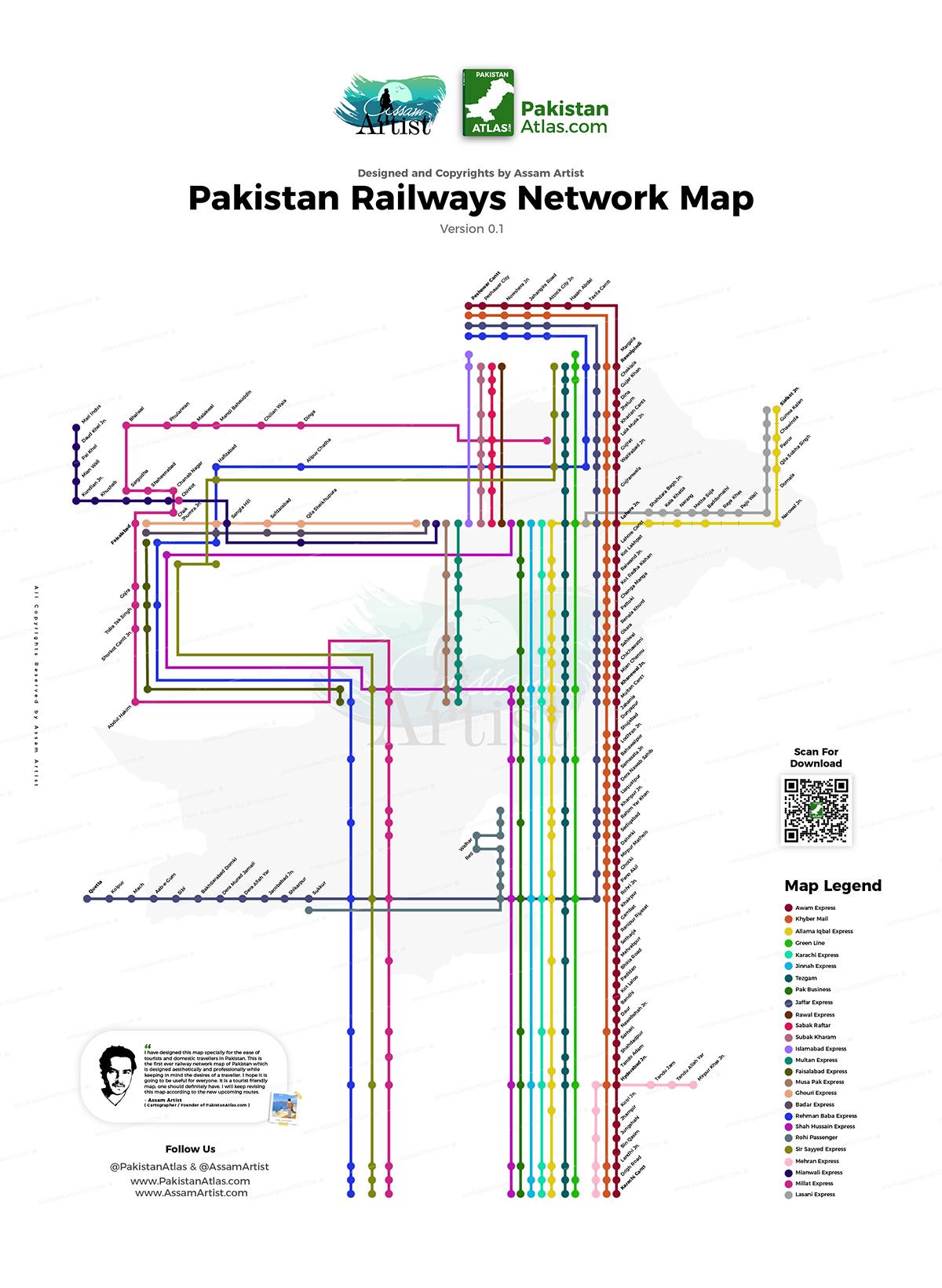 Pakistan Railways Network Map by Assam Artist